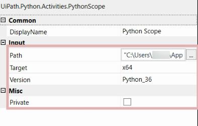 python scope activity with uipath
