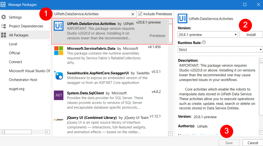 Enable Data Service Activities Pack