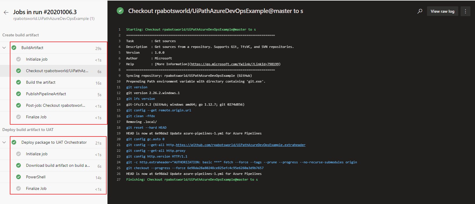 Azure devops UiPath Pipleine Execution Jobs logs
