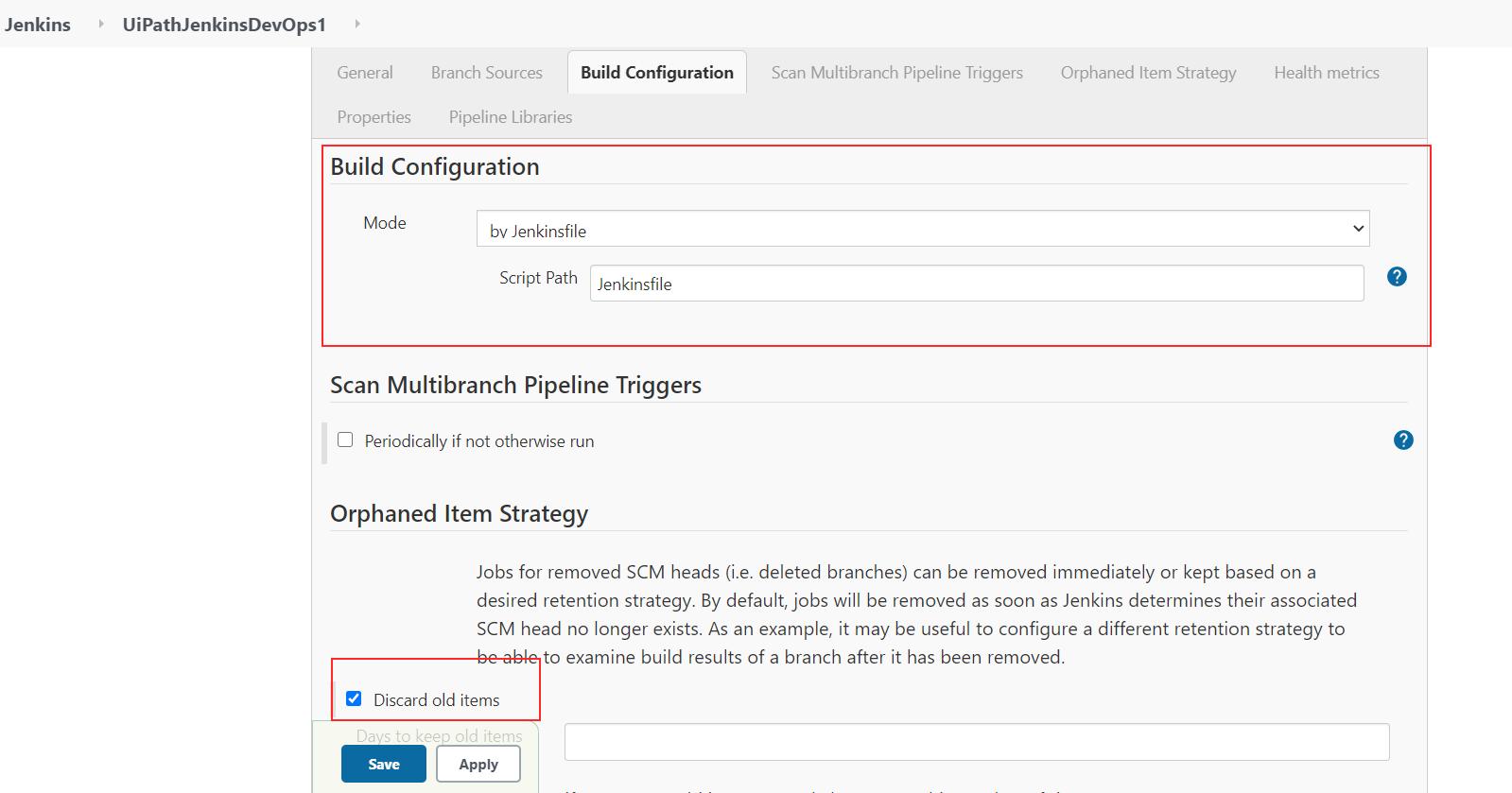 Multi Branch Pipelines Build Configuration