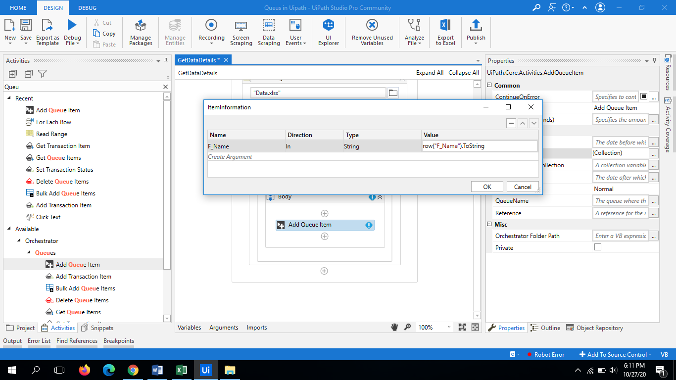 UiPath Queues | Working Example Step by Step Guide 1