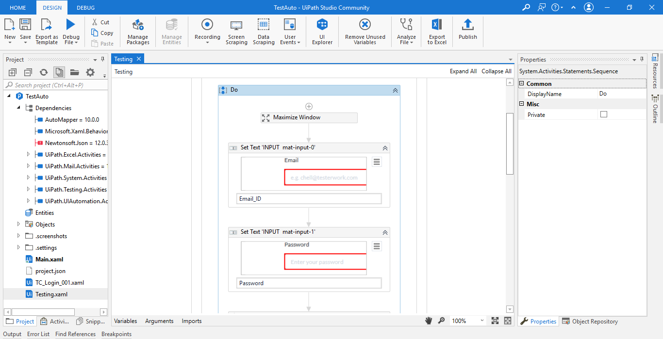 Working with UiPath Test Automation 10