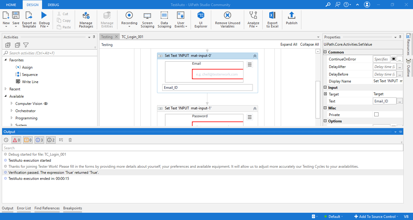Run the Workflow to get the UiPath Test results