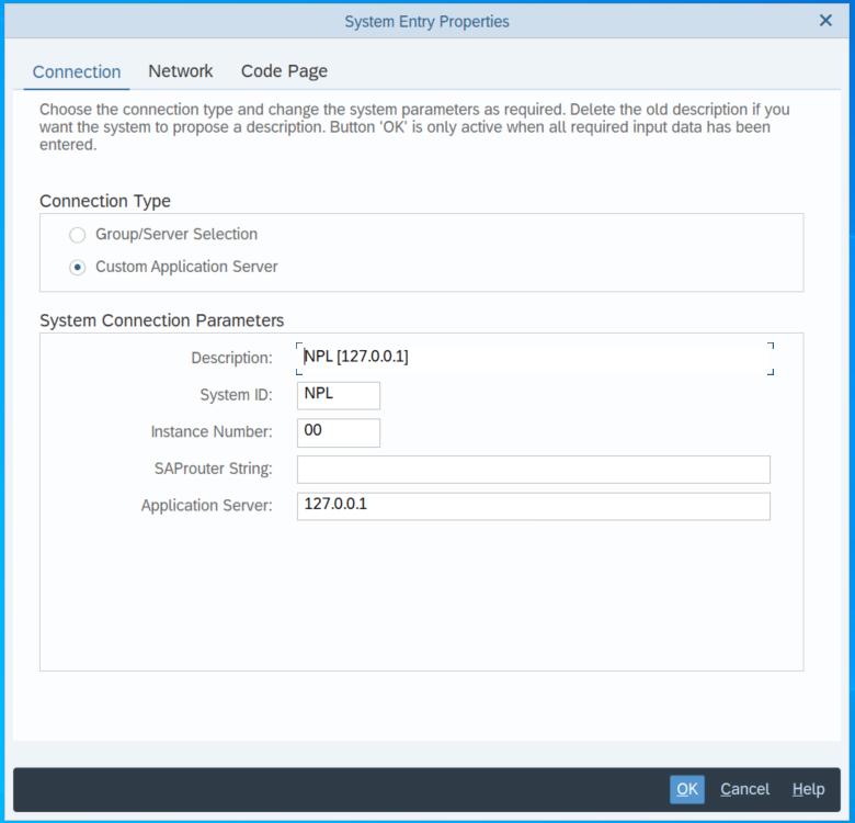 SAP Connection Parameters